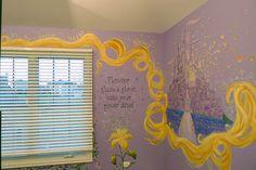 Rapunzel Tangled girls bedroom I love this! Tangled Room, Rapunzel Room, Disney Nursery, Girl Nursery, Themed Nursery, Princess Room, Princess Castle, Princess Rapunzel, Castle Mural