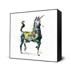 Unicorn Art Block Print - 10 X 10 Inches