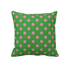 Green and Pink Polka Dot Pillow