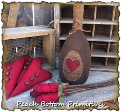 ePattern~Primitive Valentine's Sweetheart Set~Champagne Bottle, Grungy Red Hearts and Roses Sewing Pattern by PrimsbyDenise on Etsy https://www.etsy.com/listing/176993762/epatternprimitive-valentines-sweetheart