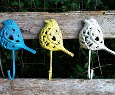 3 Cast Iron Bird Wall Hooks / Blue Yellow by RepurposedTreasure4U, $29.00