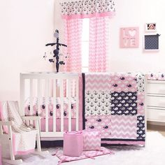 the peanut shell® chevron crib bedding collection in pink