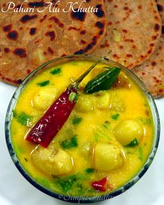 Potatoes cooked in a tangy yogurt sauce makes a delicious accompaniment with roti, paratha, rice, pooris, kachoris and samosa. Indian Vegetarian Dishes, Vegetarian Gravy, Vegetarian Recipes, Cooking Recipes, Snack Recipes, Easy Indian Recipes, Ethnic Recipes, Potato Spinach Curry, Veg Recipes Of India