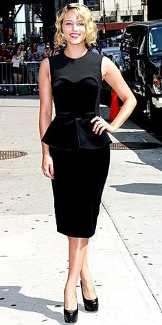 Rocking her sassy short do, the Glee star keeps the rest of her look conservative in an elegant Stella McCartney peplum sheath and black platform pumps during a visit to the Late Show with David Letterman in N.Y.C.