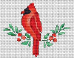 Cardinal Redbird Counted Cross Stitch Pattern Chart