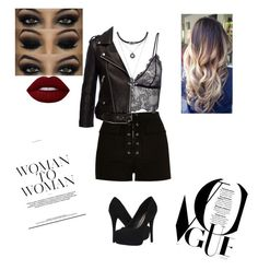 """Badass outfit #1"" by treasurematlock ❤ liked on Polyvore featuring River Island, Anine Bing, Forever 21, Michael Antonio and Lime Crime"
