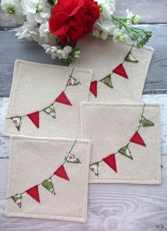 Christmas Bunting Coasters - Set of 4 Coasters