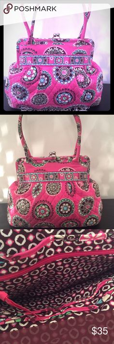 "VERA BRADLEY BAG 13"" X 16"" PINK ROUND FLOWER PRINT. KISS LOCK AND HARDWARE IS SILVER. VERY CLEAN. GOOD CONDITION. PATTERN IS RETIRED PINK CUPCAKE. VERA BRADLEY Bags"