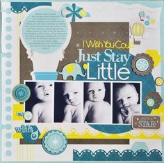 This #baby boy #scrapbook page uses the Shine collection from Creative Memories and the Scallop Stitch Border System Cartridge.  Cute!  www.mycmsite.com/lstern