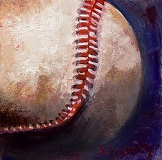 """""""Baseball"""".. from an  original oil painting by Susie Gregory..15x15  giclee on paper ($60), hand-embellished giclee on canvas, unframed,  ($80.00)  other sizes available..for purchase info: sadiedavis7@comcast.net"""
