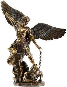 """A beautiful and highly detailed statue depicting St. Michael chaining the beast. Cold cast resin, hand painted bronze. 10"""" x 8 1/2"""" x 3"""""""