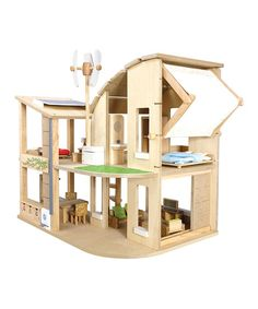 Green Dollhouse & Furniture Set