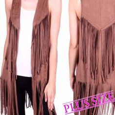 """HP 10/19FRINGED VEST! YAAASSSS PLEASE! You can't go wrong with this darling fringed vest! 100% polyester and a true hippie chic look. Made in USANWOT PLEASE DO NOT BUY THIS LISTING, I will personalize one for you. CHOOSE MOCHA OR BLACK.                                                  ♦️1X: bust 43""""♦️2X: bust 45""""♦️bust: 47"""" Jackets & Coats Vests"""