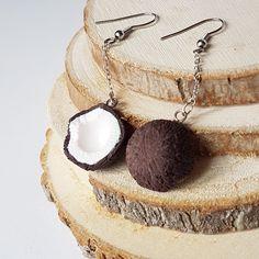 Coconut Dangle Earrings/ Coconut Earrings/Coconut Jewelry/Beach Earrings/ Food Earrings/Tropical earrings/Earrings For Girls / Cute Earrings Girls Earrings, Cute Earrings, Unique Earrings, Earrings Handmade, Dangle Earrings, Coconut Earrings, Ladybug Jewelry, Snowflake Jewelry, Polymer Clay Jewelry