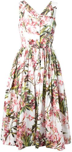Dolce & Gabbana Flared Floral Print Dress in Multicolor (white) - Lyst