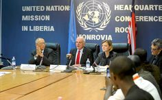 Senior UN System Coordinator for Ebola David Nabarro (centre) flanked by WHO Assistant Director-General for Health Security, Keiji Fukuda (left) and Special Representative Karin Landgren at a press conference in Monrovia, Liberia. Photo: UNMIL/Emmanuel Tobey
