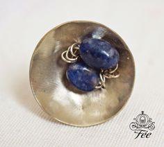 χειροποιητο δαχτυλιδι με πετρα λαπις λαζουλι. handmade metal ring lapis