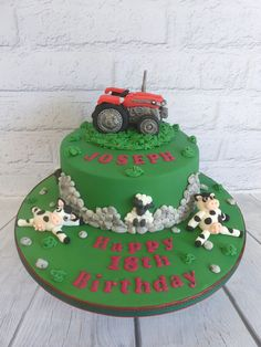 Party Cakes For Adults Farmer Birthday Cake, Tractor Birthday Cakes, 18th Birthday Cake, Adult Birthday Cakes, Farm Birthday, Birthday Party Themes, Birthday Ideas, 21st Bday Ideas, Farm Cake