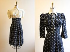 vintage-1940s-dress-40s-dress-rayon-two tone dress with dramatic jacket