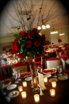 red reception themed wedding #Wedding #Ceremony #Purple themed wedding #red #sashes #flowers #chaircovers #tablerunner #white #spring #hotcolors #favorites visit is at www.chaircoverfactory.com