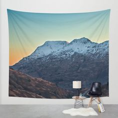 Berg Wandbehang Sonnenuntergang Wandbehang von GriffingPhotography