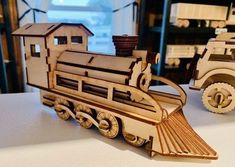 Amish Wood Model Train Kit Delightful wood train kit includes 72 pieces made with birch wood. #woodtoys #trains