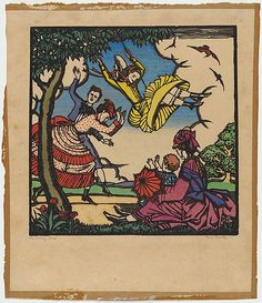 Artist: PROCTOR, Thea | Title: The swing. | Date: (1925) | Technique: woodcut, printed in black ink, from one block; hand-coloured | Copyright: © Art Gallery of New South Wales