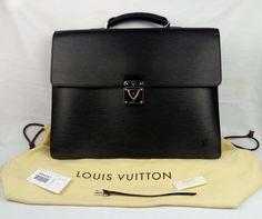 100% Authentic LOUIS VUITTON Epi Robusto 2 Briefcase Noir M54542 BNWT $4800 #LouisVuitton #CompartmentBriefcase