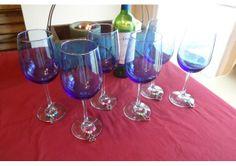 Blue Wine Glasses & Charms Handmade Valentine's Day or Wedding Gift Set of 6 - TheWeddingMile.com Blue Wine Glasses, Wedding Gifts, Wedding Day, Newlywed Gifts, Wine Charms, Something Blue, Valentines Day, Artisan, Bridal