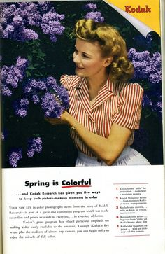 Retro Kodak ad, 1940s   love the hair.
