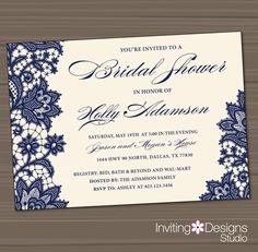 Printable Wedding Shower Invitation, Bridal Shower Invitation, Lace, Navy, Blue, Cream Background