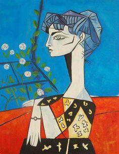 By Pablo Picasso, Jacqueline con fiori, Pablo Picasso, Kunst Picasso, Art Picasso, Picasso Paintings, Arte Peculiar, Illustrator, Art Moderne, Henri Matisse, Famous Artists