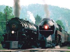 Norkfolk and Western stream trains in VA.