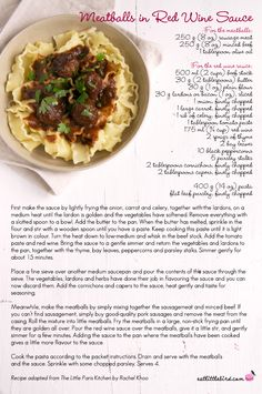 Meatballs in Red Wine Sauce. Recipe adapted from Rachel Khoo