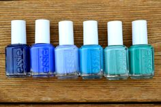 Essie blue polishes, from left to right: Style Cartel, Butler Please, Bikini So Teeny, Strut Your Stuff, Where's My Chauffeur, Melody Maker