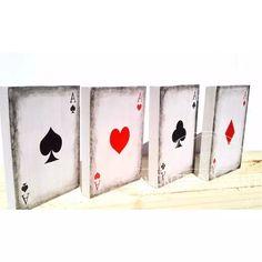 Cartas Naipes Poker Ases Madera As Casino Apuestas Deco - $ 640,00