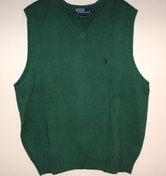 POLO BY RALPH LAUREN SIZE L-GREEN COTTON VEST-PREOWNED-13 | Clothing, Shoes & Accessories, Men's Clothing, Sweaters | eBay!