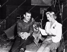 photo Ilona Massey Lon Chaney Jr. and dog Frankenstein Meets the Wolfman 1735-03
