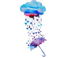 Watercolour Cloud Heart Rain Umbrella Clip Art Graphic Design