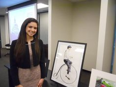 """Sabrina Collias with """"The Old Days,"""" first runner-up in the 2013 Congressional Art Competition."""