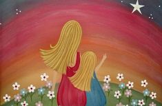 Mother Daughter Wishing Star Kids Wall Art for Kids Room Art Children Decor - Girls Kids Art Prints from Kids Paintings by TwoLittleWitches Teen Wall Art, Baby Wall Art, Art Wall Kids, Canvas Wall Art, Art For Kids, Kids Canvas, Art Children, Reading Art, Paint And Sip