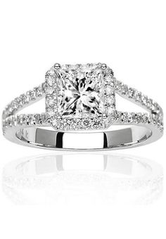 IGI Certified Near 1 Carat Square Double Row Halo Split Shank Princess Cut Diamond Engagement Ring (H-I Color, SI1-SI2 Clarity) http://www.theperfectpaletteshop.com/