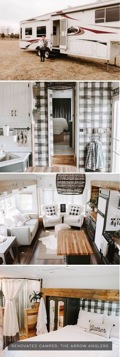 35 Classic Modern Interior RV For Your Happy Camper I Really Want An All White Interior For The Rv Remodeling Ideas. 35 Classic Modern Interior RV For Your Happy Camper Camper Design Vibes Modern Farmhouse Inspired Fifth Wheel Campers. 5th Wheel Camper, Fifth Wheel Campers, Tiny House Living, Rv Living, Living Room, Camper Renovation, Home Renovation, Remodel Caravane, Camper Makeover