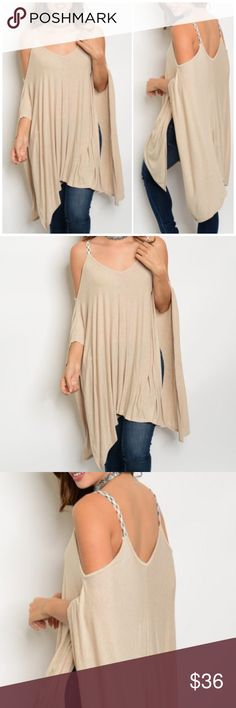 """Beige Cold Shoulder Tunic Top Beige Cold Shoulder Tunic Top featuring flutter sleeves and a scoop neck. 95% Rayon 5% spandex. Measurements for small length 34""""/ Bust 50""""/ waist 64"""". Bchic Tops Tunics"""