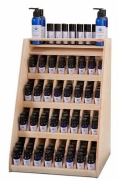 Essential Oil Retail Display Rack holds 240 bottles (not included) in a unique design. Essential Oil Rack, Essential Oil Storage, Homemade Body Lotion, Oil Shop, Living Oils, Perfume, Natural Cleaning Products, Young Living Essential Oils, Stores