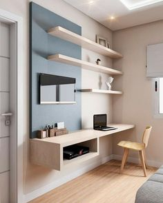 31 White Home Office Ideas To Make Your Life Easier; home office idea;Home Office Organization Tips; chic home office. White Houses, Room Design, House Interior, Home, Home Office Organization, Bedroom Design, Home Office Decor, Home Decor, Office Design
