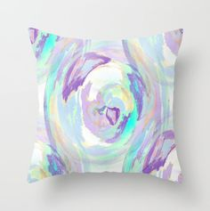 Abstract Throw Pillow Cover in Purple Blue Teal by HLBhomedesigns, $35.00