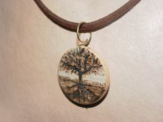 Tree.. Wooden pendant  necklace  pyrography by REDONEbykpstack, $19.00