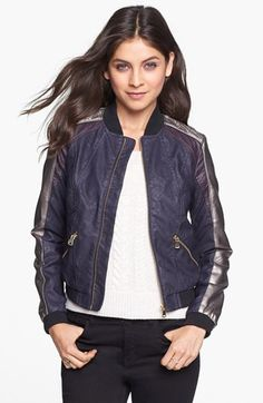 Collection B Multicolor Faux Leather Bomber Jacket (Juniors) available at #Nordstrom