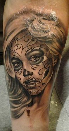 Sugar skull lady tattoo on leg - Tattoo Mania Great Tattoos, Trendy Tattoos, Leg Tattoos, Beautiful Tattoos, Tattoo Thigh, Creative Tattoos, Unique Tattoos, Tattoo Girls, Girl Tattoos